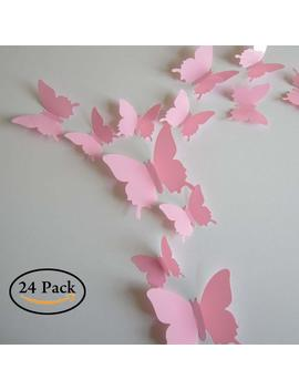 Neele 24pcs 3 D Butterfly Removable Mural Stickers Wall Stickers Decal For Home And Room Decoration(Pink) by Neele