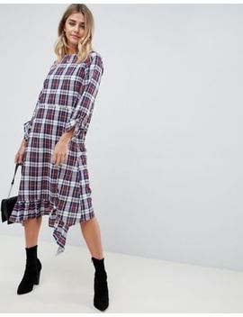 Asos Design Soft Trapeze Midi Dress With Pephem In Check by Asos Design