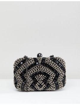 True Decadence Black Beaded Embellished Box Clutch Bag by True Decadence
