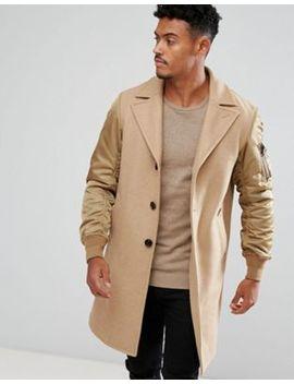 Diesel Camel Coat Contrast Sleeves by Diesel