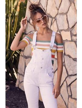The World Is Yours White Distressed Denim Overalls by Lulu's