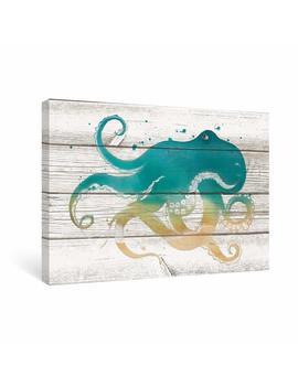 Sumgar Teal Octopus Pictures For Living Room Kids Framed Wall Art For Bathroom On Vintage Wood Grain Canvas by Sumgar