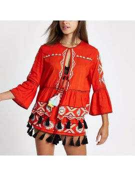 Red Embroidered Tassel Kaftan Jacket by River Island