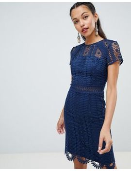 Chi Chi London Cap Sleeve Lace Pencil Dress by Chi Chi London