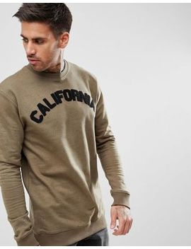 Boohoo Man Sweat With Cali Print In Khaki by Boohoo Man