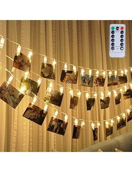 Led Photo Clip Remote String Lights, Magnolora 20 Le Ds Battery Operated Fairy String Lights With 8 Modes Choice, 7.2 Feet, Warm White by Magnolian