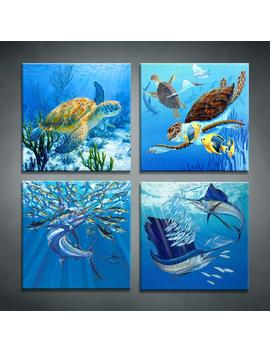 """Moyedecor Art   4 Pieces Wall Art Paintings Turtle And Tuna In The Blue Underwater Uorld Of Art Pictures Prints On Canvas Decoration Home And Office   Size:12""""X12""""Inch X 4 Panel Ready To Hang by Moyedecor Art"""