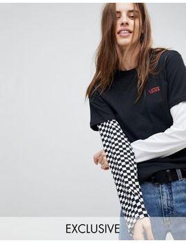 Esclusiva Vans   T Shirt A Doppio Strato Con Maniche A Contrasto by Asos