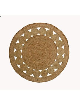 Cotton Craft   100 Percents Pure Natural Eco Friendly Jute   Fully Reversible   4 Feet Round   Braided Dots Round Area Rug by Cotton Craft