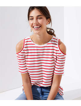 Striped Cold Shoulder Tee by Loft