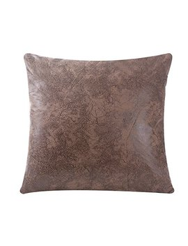 Wflosunve Soft Faux Leather Square Decorative Throw Pillow Case Cushion Cover For Bed And Couch 18x18 Inch, No Pillow Insert (Light Brown) by Wflosunve