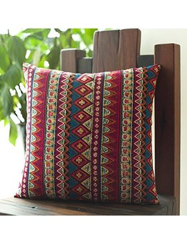 """Me More Cool Bohemian Ethnic Style Cotton Throw Pillow Cover,Fashion Stripes Sofa Cushion Cover,Boho Decor Pillowcase 18""""X18""""   Uses For Sofa/Chair/Bed by Memorecool Light Up Your Home"""