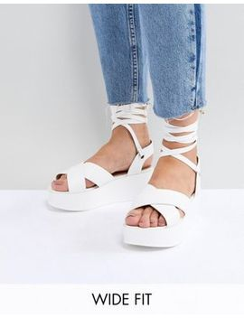 Raid Wide Fit Alma White Flatform Ankle Tie Sandals by Raid