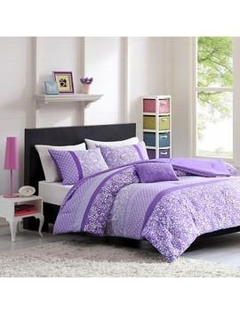 Angela Polka Dot Floral Comforter Set   Purple by Target