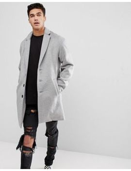 Stradivarius Double Sided Drop Shoulder Coat In Gray by Stradivarius