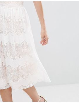 Oh My Love Lace Pleated Midi Skirt by Oh My Love