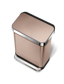 Simplehuman Rectangular Step Trash Can With Liner Pocket, Rose Gold Stainless Steel, 55 L/14.5 Gal by Amazon