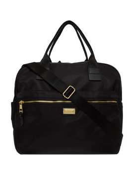 Black & Gold Tone Nylon Overnight Bag by Madden Girl