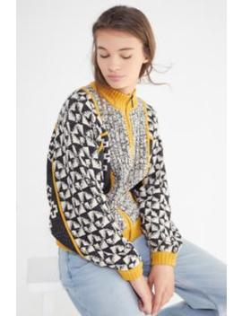Uo Ashton Geo Print Zip Cardigan by Urban Outfitters
