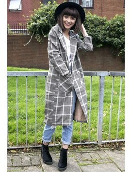 Longline Plaid Coat by Poppy Lovers Fashion