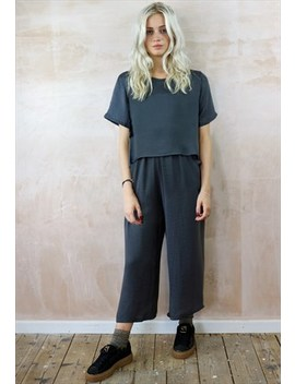 Grey Top And Crop Pants Co Ordinates by Yapyap