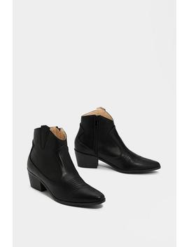 Faux Leather Western Ankle Boots by Nasty Gal