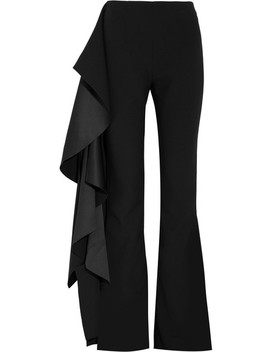 Ruffled Hammered Satin And Crepe Flared Pants by Solace London
