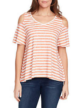 Macie Cold Shoulder Stripe Knit Top by Bandolino