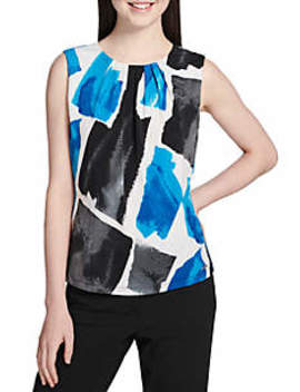 Brush Stroke Pleat Neck Cami by Calvin Klein