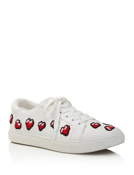 Women's Kam Leather & Heart Appliqué Low Top Lace Up Sneakers   100 Percents Exclusive by Kenneth Cole