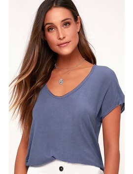 Come Hither Sheer Denim Blue Tee by Lulu's