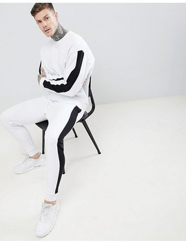 Asos Design Tracksuit Oversized Sweatshirt/Skinny Joggers With Side Stripe In White Marl And Black by Asos Design