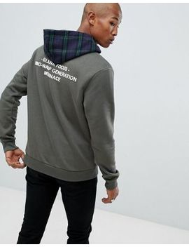 Mennace Hoodie With Check Hood by Mennace