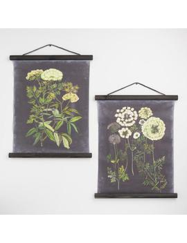 Black Botanical Linen Scroll Wall Hangings Set Of 2 by World Market