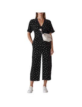Whistles Camilla Print Button Jumpsuit, Black/White by Whistles