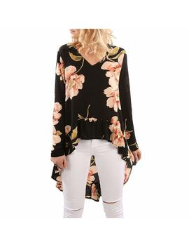 Cucuham Women Floral Print Long Sleeve Shirt Casual Blouse Ruffles Irregular Tops by Cucuham
