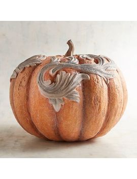 Orange Resin Pumpkin With Scrollwork by Pier1 Imports