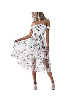 Women Summer Off Shoulder Floral Printed Long Maxi Dress by Cucuham