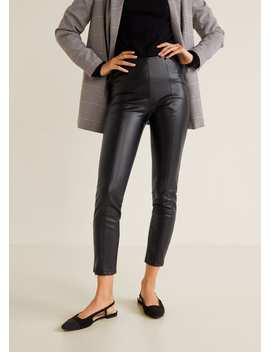 Slim Fit Faux Leather Trousers by Mango