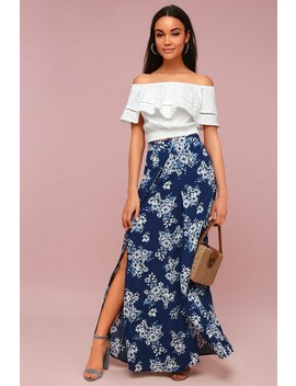 French Seaside Navy Blue Floral Print Maxi Skirt by Lulu's