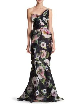 Strapless Bow Floral Silk Gown by Marchesa