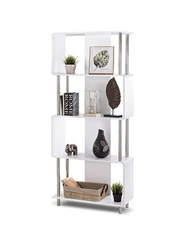 Giantex 4 Shelf Bookcase Style Storage Display Unit Modern Industrial Bookshelf Organizer White by Giantex