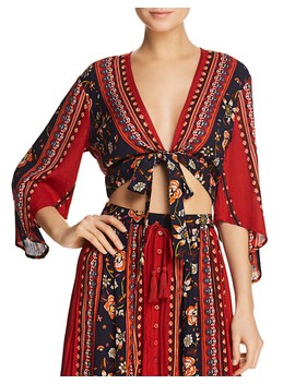 Floral Print Tie Front Top by Band Of Gypsies