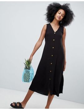 Monki Button Front Midi Dress by Monki