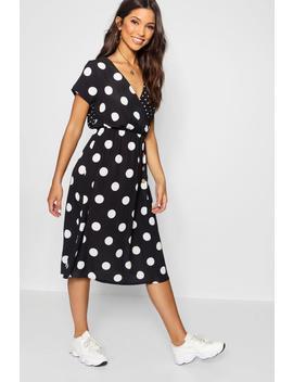 Mixed Polka Dot Button Front Midi Dress by Boohoo