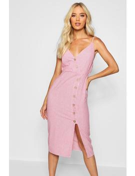 Button Front Cotton Stripe Midi Dress by Boohoo