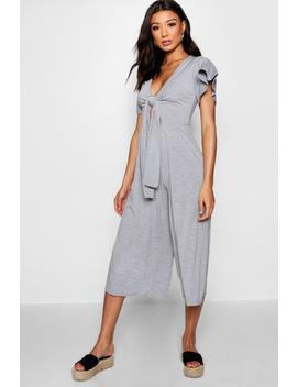 Tie Front Ribbed Culotte Jumpsuit by Boohoo