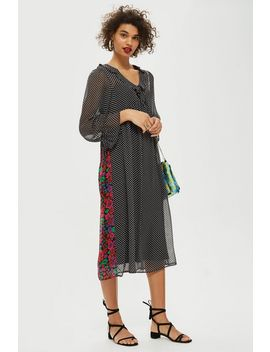 Spot Front Floral Back Dress by Topshop