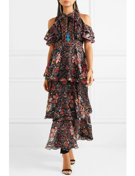 Cold Shoulder Printed Silk Georgette Maxi Dress by Etro