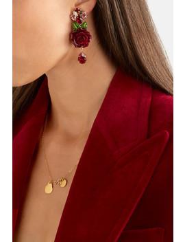 Boucles D'oreilles Clip En Plaqué Or, Résine Et Cristaux by Dolce & Gabbana